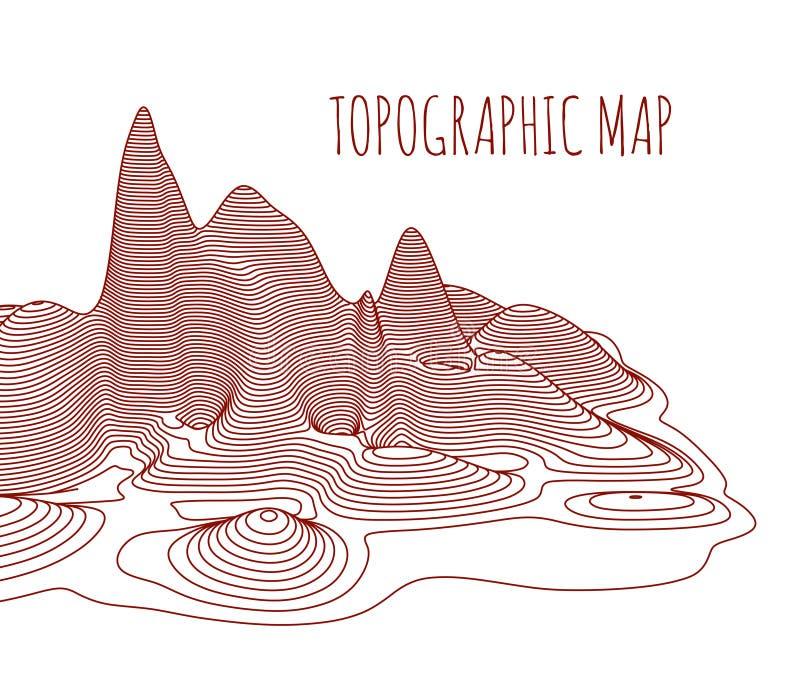 Mapa topográfico del lugar, ejemplo del vector ilustración del vector