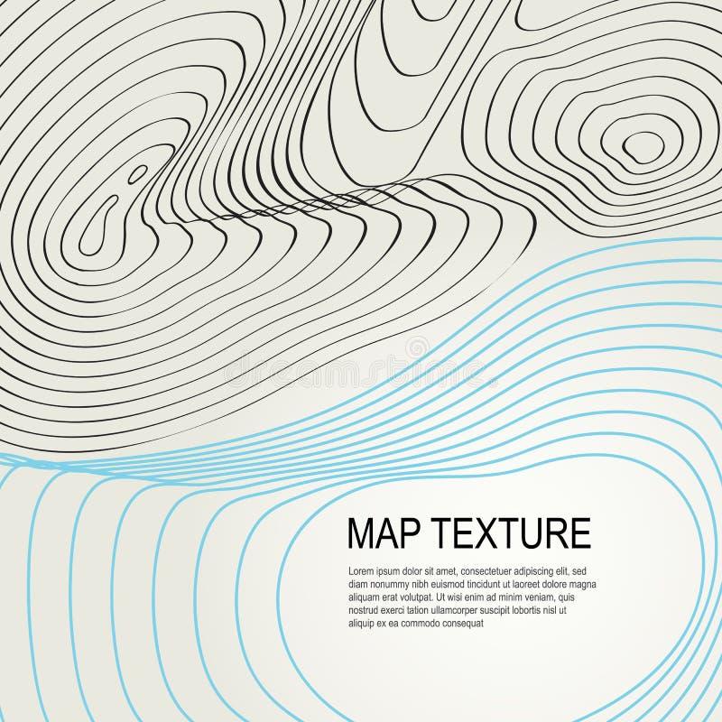 Mapa topográfico del terreno con la línea contornos stock de ilustración