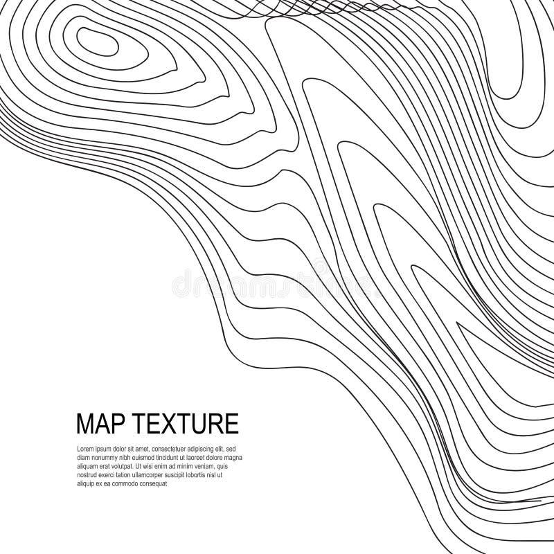 Mapa topográfico del terreno con la línea contornos ilustración del vector