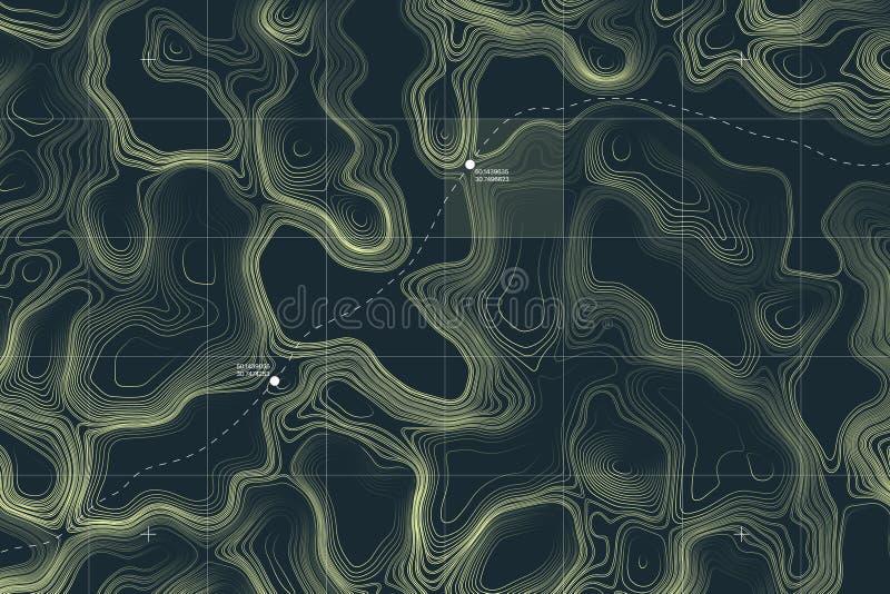 Mapa topográfico del terreno extranjero conceptual del vector stock de ilustración