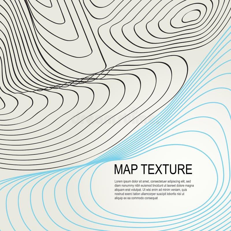 Mapa topográfico do terreno com linha contornos ilustração stock