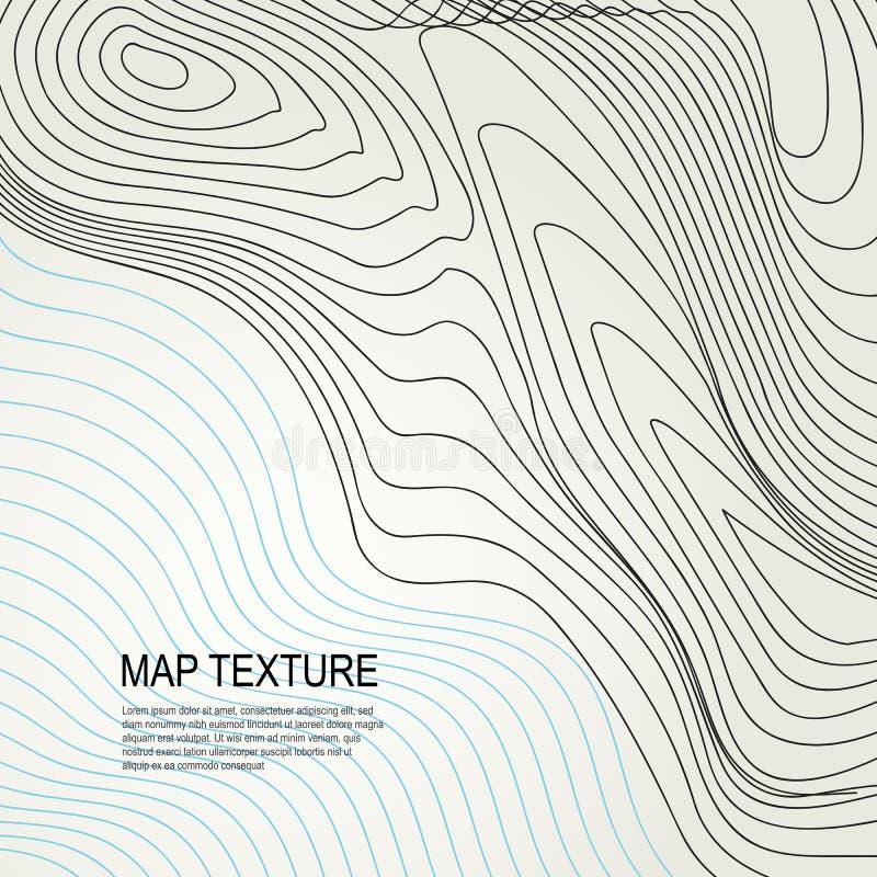 Mapa topográfico do terreno com linha contornos ilustração do vetor