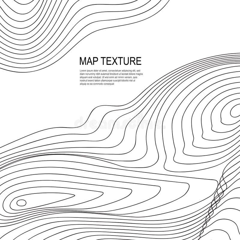 Mapa topográfico do terreno com linha contornos ilustração royalty free