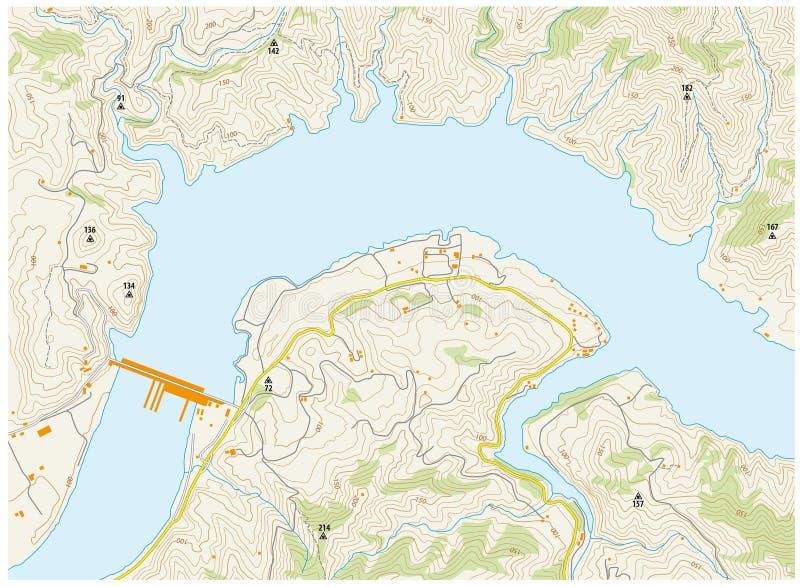 Mapa topográfico imaginario stock de ilustración