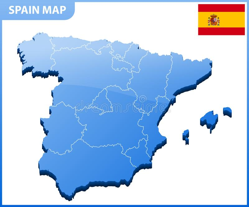Mapa tridimensional altamente detalhado da Espanha Divisão administrativa ilustração stock