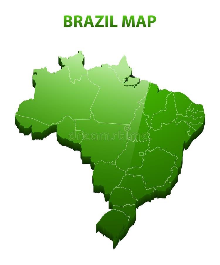 Mapa tridimensional altamente detallado del Brasil con la frontera de las regiones stock de ilustración