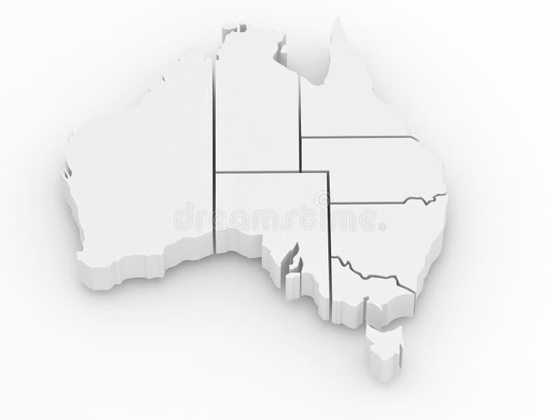 Mapa tridimensional de Austrália ilustração do vetor