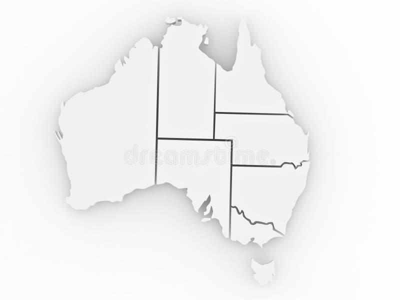 Mapa tridimensional de Austrália ilustração stock