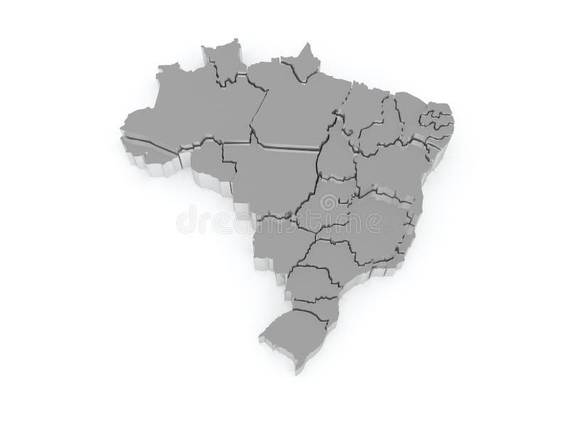 Mapa tridimensional de Brasil. ilustração do vetor
