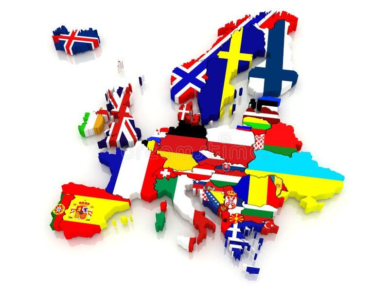 Mapa tridimensional de Europa. stock de ilustración