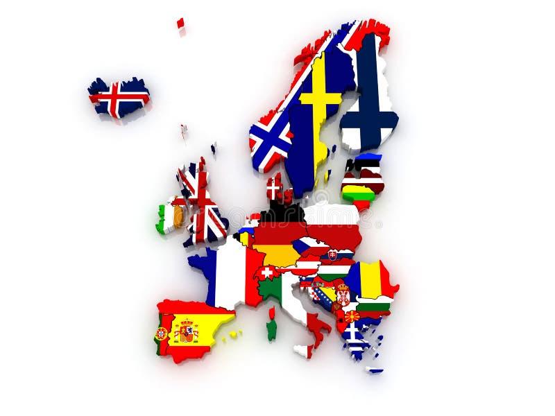 Mapa tridimensional de Europa. libre illustration