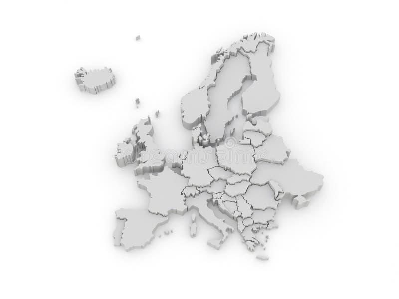 Mapa tridimensional de Europa stock de ilustración