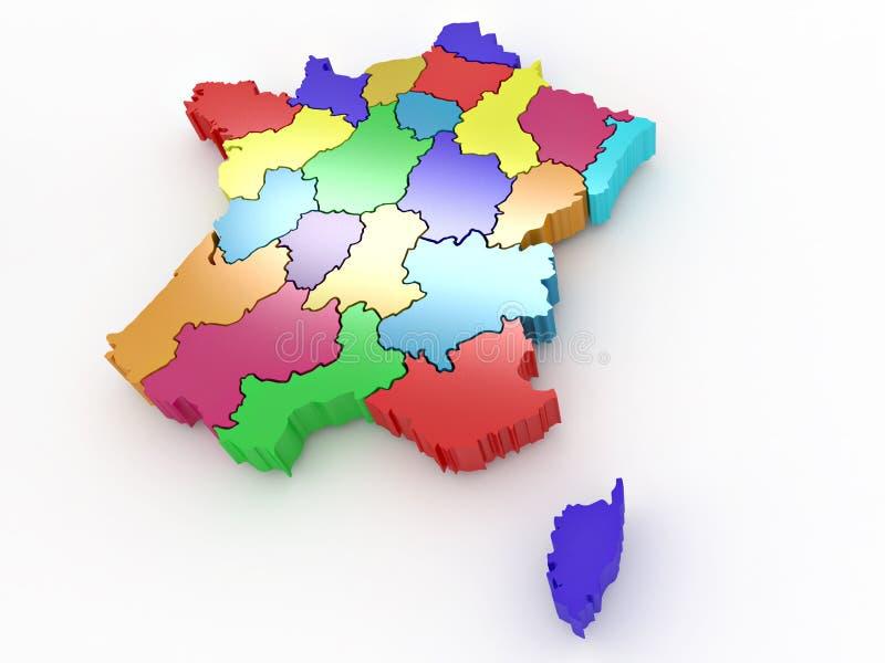 Mapa tridimensional de France ilustração do vetor