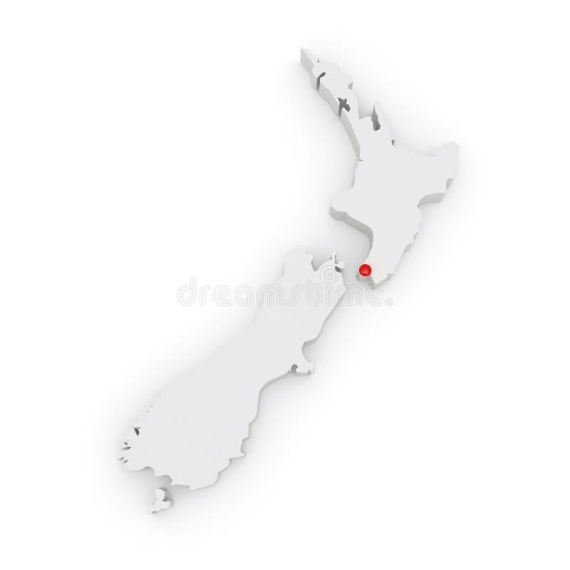 Mapa tridimensional de Nova Zelândia. ilustração royalty free