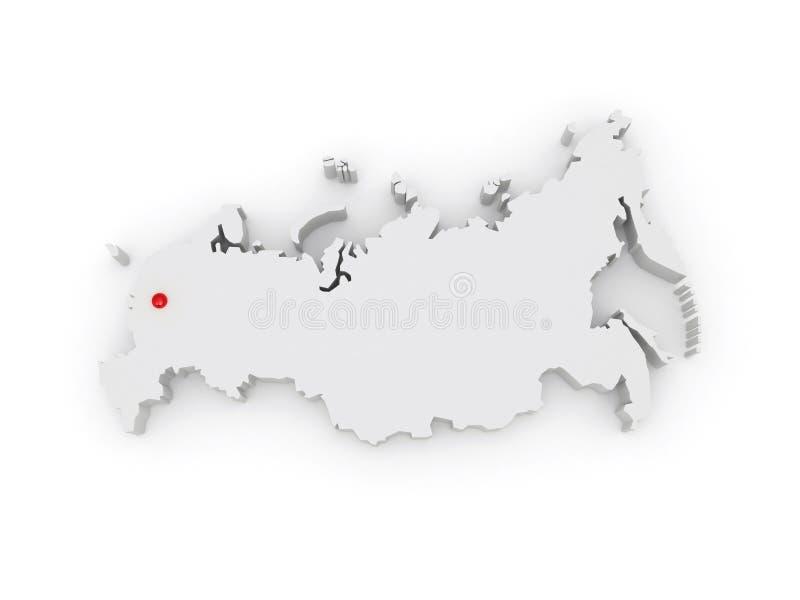 Mapa tridimensional de Rusia. ilustración del vector