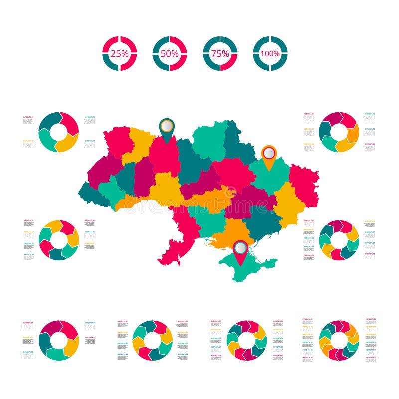 Mapa Ukraina Wektorowy wizerunek globalna mapa w postaci regionów regionów w Włochy ?atwy redagowa? royalty ilustracja