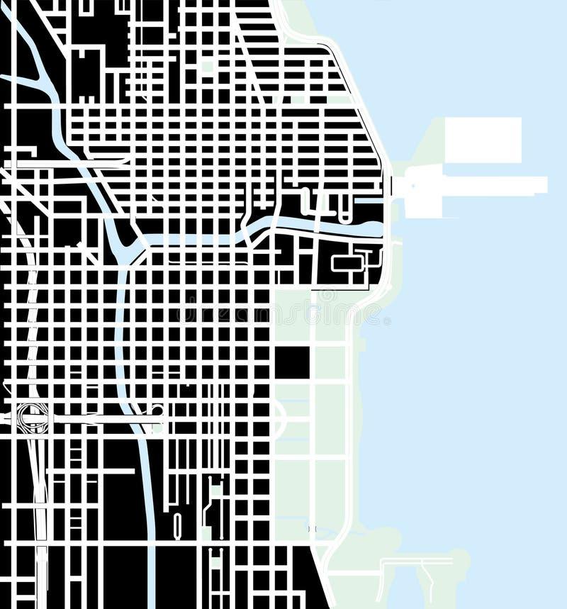 Mapa urbano da cidade do vetor de Chicago, EUA ilustração stock