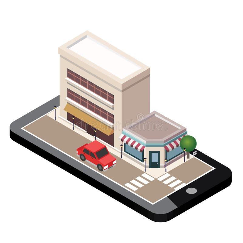 Mapa urbano del landscapecenter de la pequeña ciudad isométrica con el edificio, tienda o servicio y caminos Tecnologías móviles  ilustración del vector