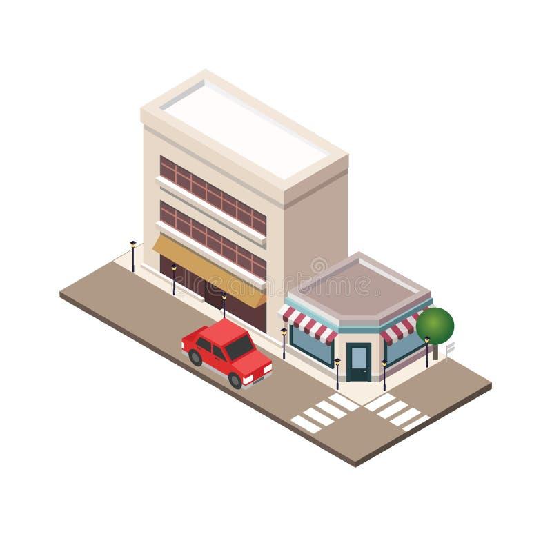Mapa urbano del landscapecenter de la pequeña ciudad isométrica con el edificio, la tienda y los caminos Plan de ciudad, arquitec libre illustration