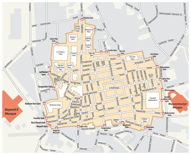 Mapa Uroczysty bazar w Fatih okręgu Istanbuł royalty ilustracja