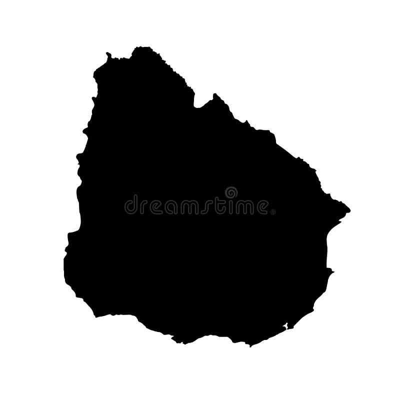 Mapa Uruguay del vector Ilustraci?n aislada del vector Negro en el fondo blanco ilustración del vector