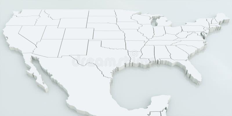 Mapa usa i Meksyk Wysoce szczegółowy 3D rendering royalty ilustracja