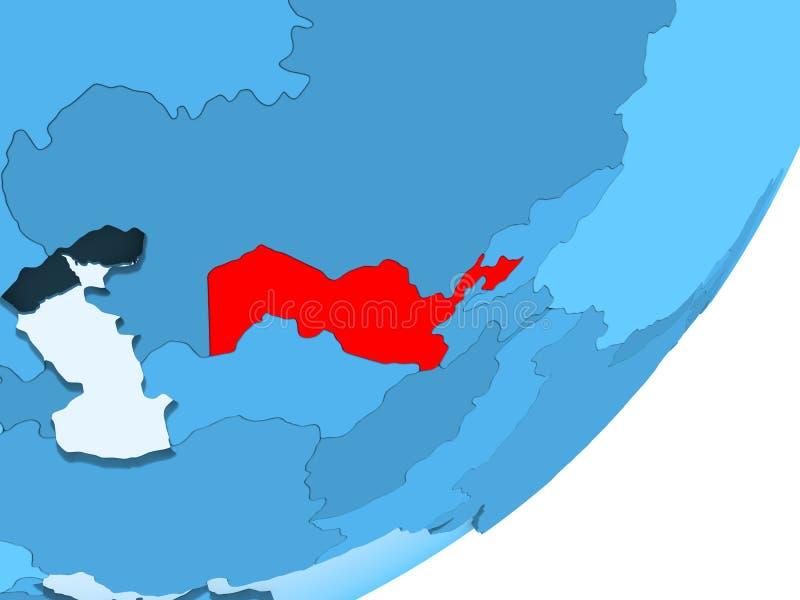 Mapa Uzbekistan na błękitnej politycznej kuli ziemskiej ilustracja wektor