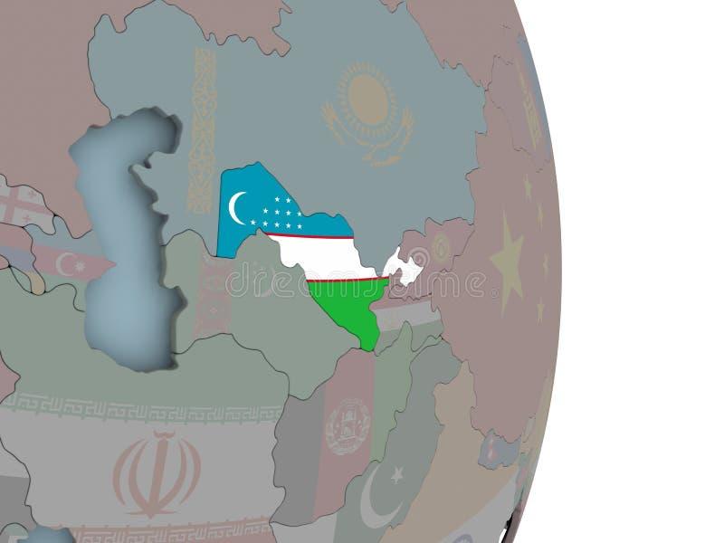 Mapa Uzbekistan na politycznej kuli ziemskiej z flaga royalty ilustracja
