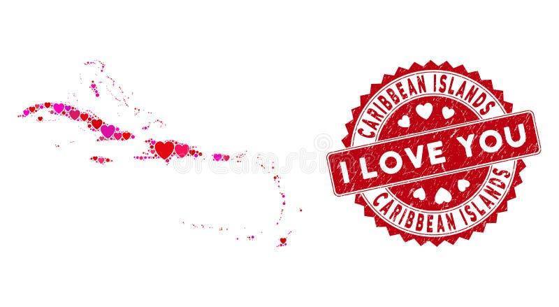 Mapa Valentine Heart Collage Caribbean Islands z Grunge Watmark ilustracji