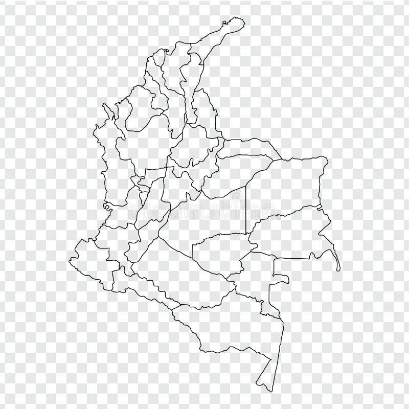 Mapa vazio Colômbia Mapa de alta qualidade Colômbia com as províncias no fundo transparente para seu projeto da site, logotipo, a ilustração stock