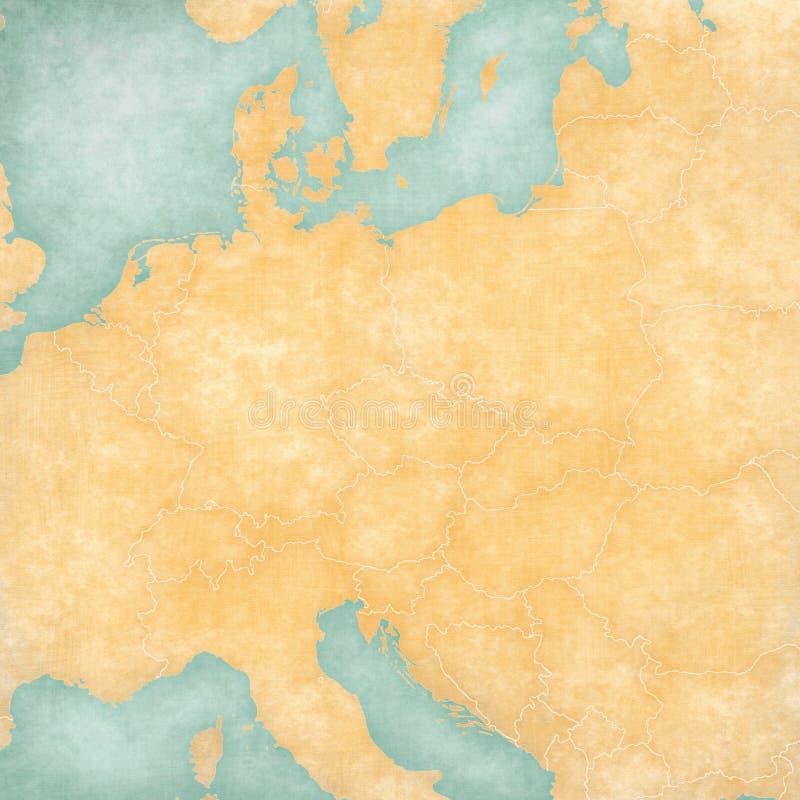 Mapa vazio da Europa Central ilustração stock