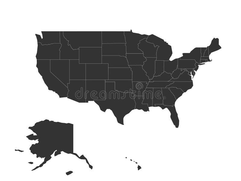 Mapa vazio do Estados Unidos da América - EUA Mapa cinzento escuro simplificado do vetor da silhueta no fundo branco ilustração stock