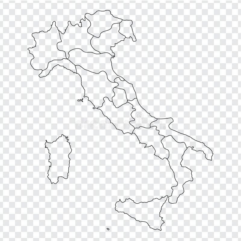 Mapa vazio Itália Mapa de alta qualidade Itália com as províncias no fundo transparente para seu projeto da site, logotipo, app,  ilustração do vetor
