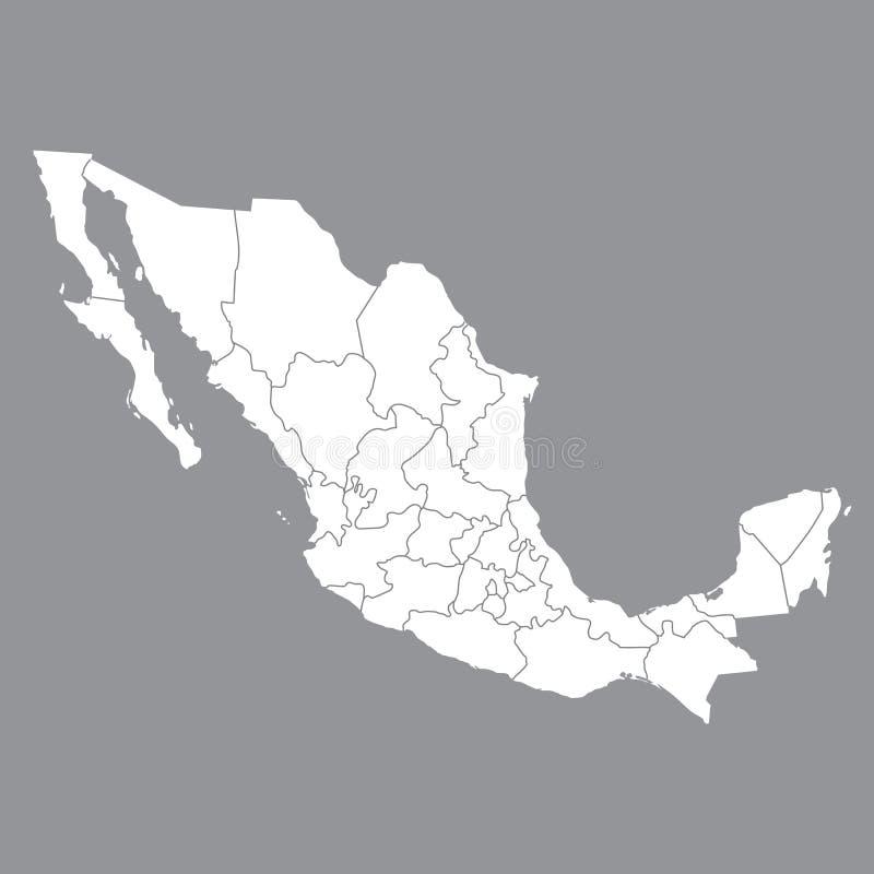 Mapa vazio México Mapa de México com as províncias Mapa de alta qualidade de México no fundo cinzento Vetor conservado em estoque ilustração stock