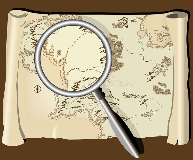 Mapa velho com magnifier ilustração royalty free