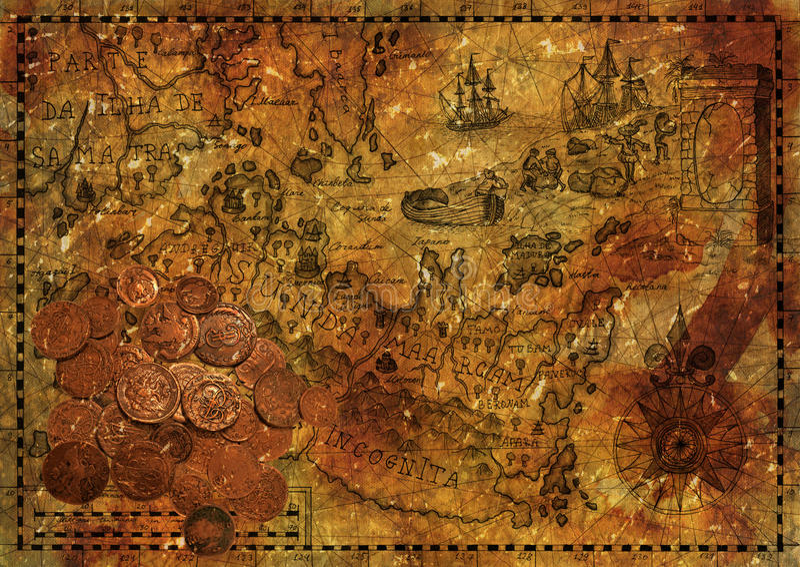 Mapa velho com moedas antigas, colagem do pirata ilustração do vetor
