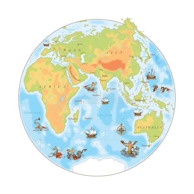 Mapa velho da marinha Hemisfério oriental ilustração stock