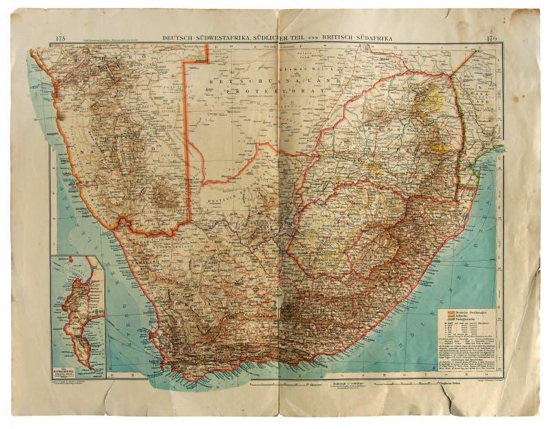 Mapa velho de África do Sul foto de stock