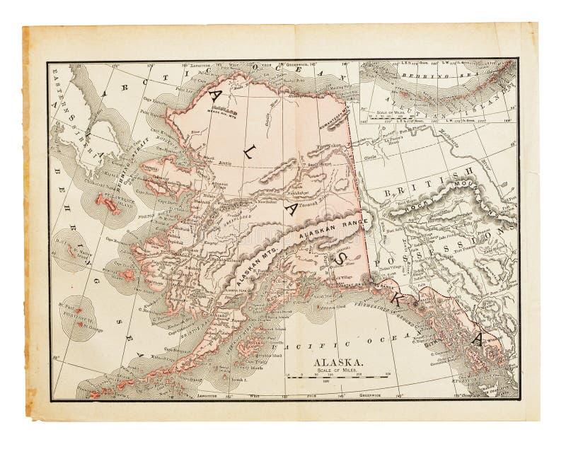 Mapa velho de Alaska fotos de stock