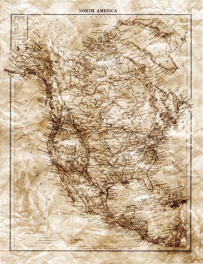 Mapa velho de America do Norte fotografia de stock