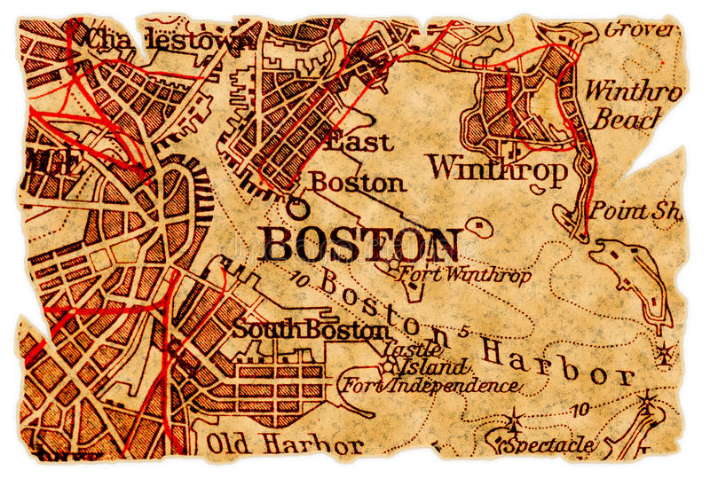 Mapa velho de Boston fotografia de stock royalty free