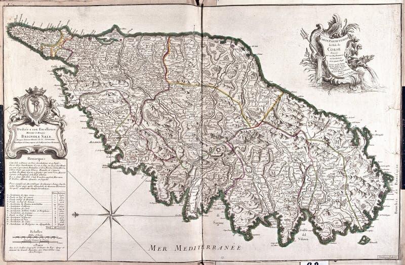 Mapa velho de Córsega, França fotos de stock