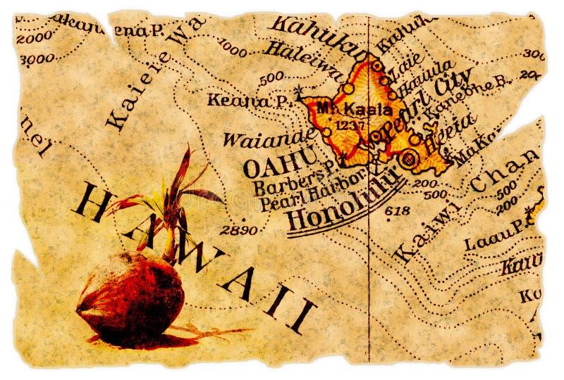 Mapa velho de Honolulu ilustração stock