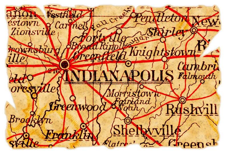Mapa velho de Indianapolis imagens de stock royalty free