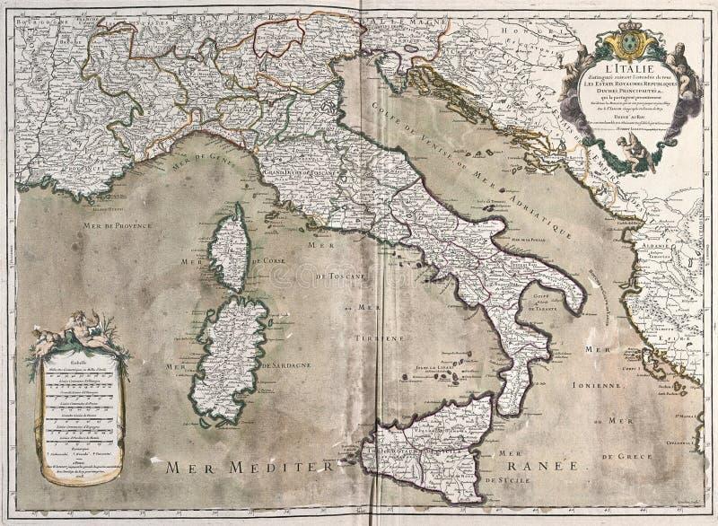 Mapa velho de Italy imagem de stock