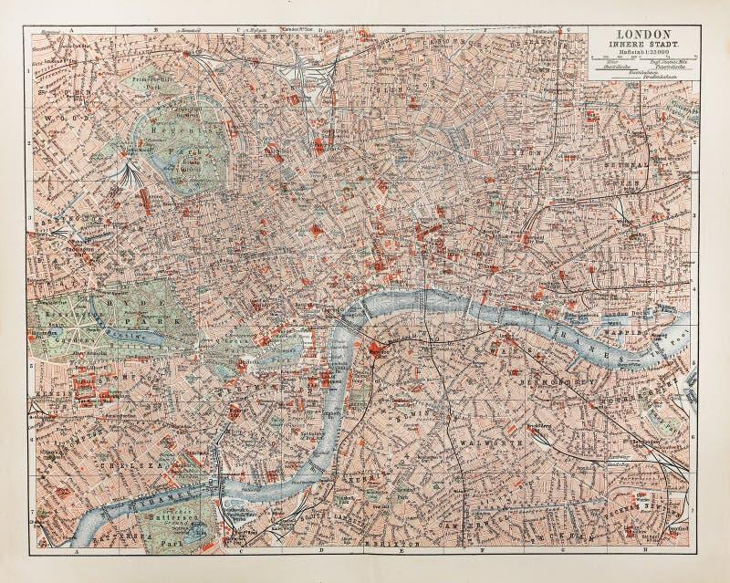 Mapa velho de Londres fotografia de stock