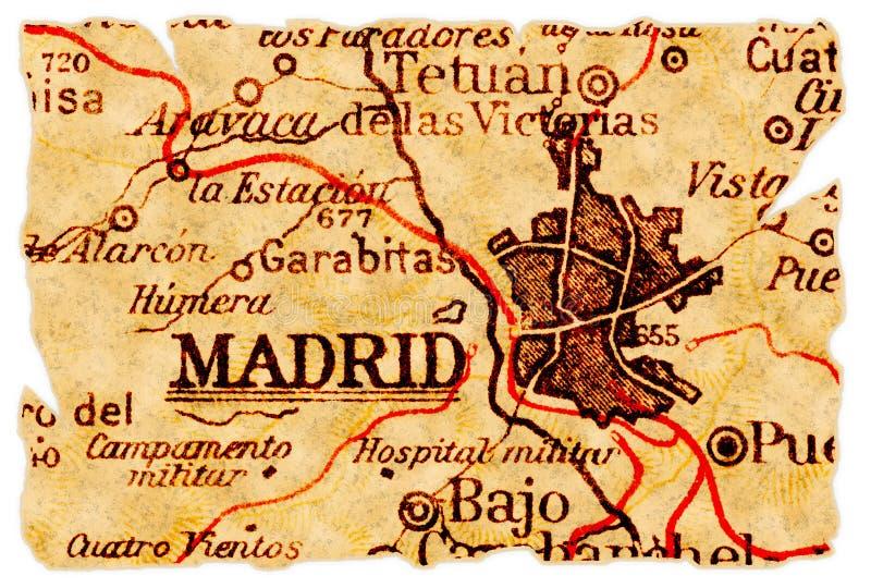 Mapa velho de Madrid fotografia de stock royalty free