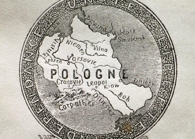Mapa velho de Poland fotografia de stock