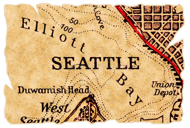 Mapa velho de Seattle fotos de stock