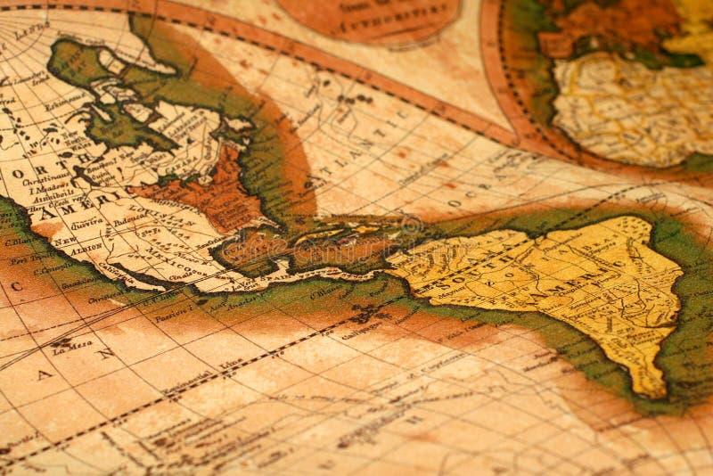Mapa velho do mundo fotos de stock royalty free